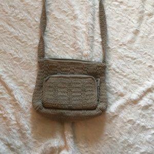 Tan woven crochet crossbody with built in wallet